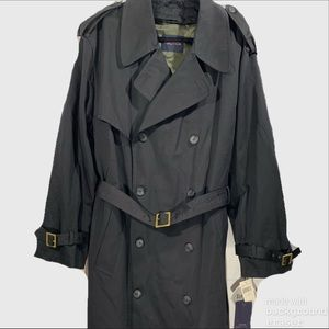 Nautical Trench Coat Men's 42R Black Zip-out Liner